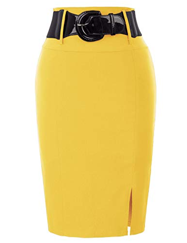 Plus Size Women's Bodycon Pencil Skirt with Belt Solid Color XXL BP762-5