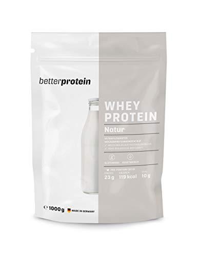 Whey Protein - Neutral 1 kg - Hergestellt in Deutschland aus regionaler Milch ohne unnötige Zusätze ohne Süßstoffe - BetterProtein® - Proteinpulver zum Muskelaufbau und Abnehmen - Eiweißpulver