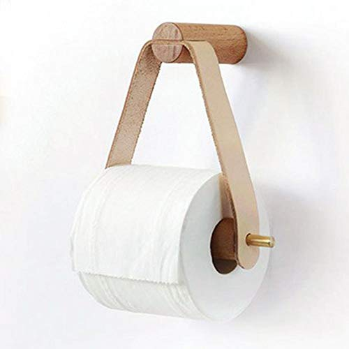 Wood.L Toilettenpapier-Halter Dekoratives Aus Holz Wandregal DIY Wandmontierte Toilettenpapierhalter Mit Holzregal Für Baddekor