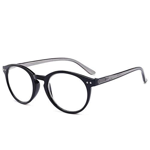 Mode Ronde Leesbril Dames Heren PC Hars Frame Verziendheid Brillen op sterkte # 11, 400, zwart