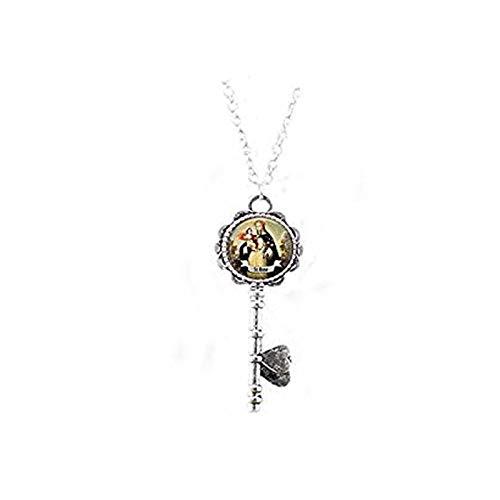 qws Saint Rose of Lima Key Necklace - Catholic Saint Jewelry - St Rose - Religious Jewelry - Saint Rose Charm - Catholic Faith Gift