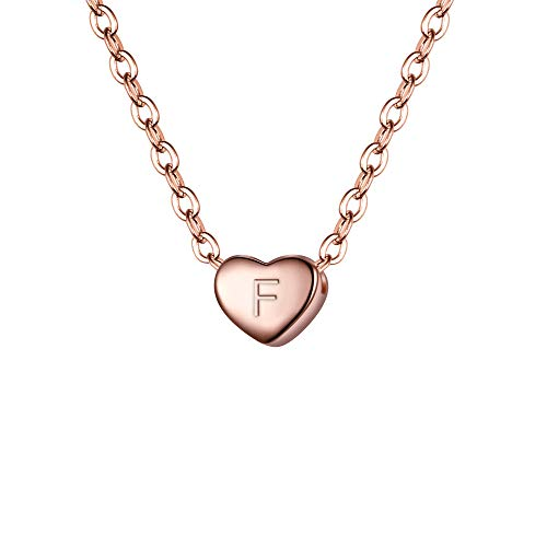 Clearine 925 Sterling Silver Tiny Initial Heart Necklace for Women Pendant Choker Necklace for Girls Letter F 14K Rose-Gold-Toned