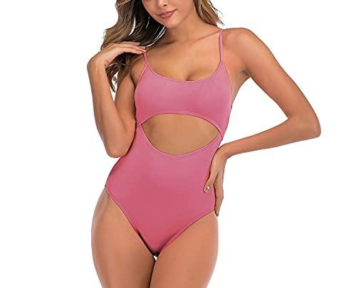 Moda mujer Sexy Bikinis traje de baño con cordones en la espalda de corte alto Tankini trajes de baño de una pieza,Rosado,XL