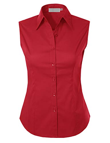 MAYSIX APPAREL Plus Size Womens Sleeveless Stretchy Button Down Collar Office Formal Shirt Blouse RED 2XL