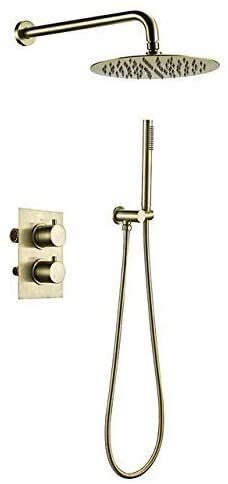 Muyuuu Baño Shwoer Faucet Set de Ducha Dorado Cepillado 2 Manijas Diverente Control termostático Válvula de Mezcla Sistema de Ducha 8 Pulgadas Conjunto (Size : 10inch)