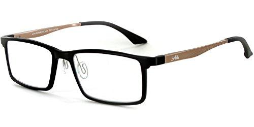 Alumni RX04 Optical-Quality Reading Glasses with RX-Able Aluminum Titanium Alloy Frames for Men (Black/Gold +1.50)