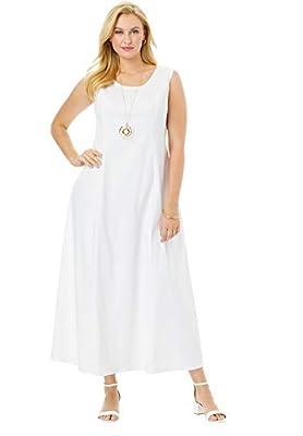 Jessica London Women's Plus Size Denim Maxi Dress - 30, White