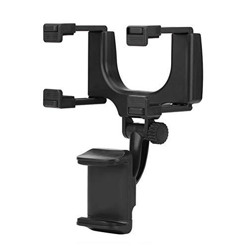 KIMISS Clip del apretón del soporte del coche del espejo retrovisor,soporte universal del tenedor del teléfono del soporte del espejo de la vista posterior del coche