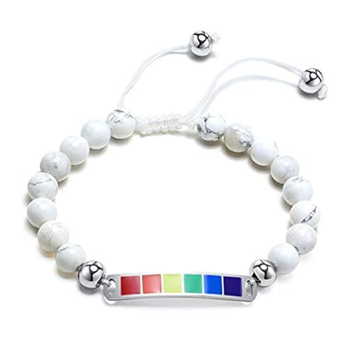 HIJONES Pulsera de Cuentas de Arcoíris LGBT de Acero Inoxidable para Hombre, Brazalete con Piedras Preciosas de Ágata Blanca