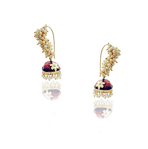 Moonstruck Traditional Long Indian Jhumka Jhumki Golden Dangle Earrings With Pearl For Women (Red)