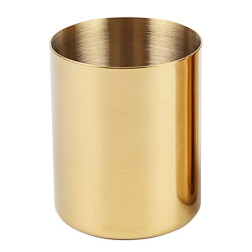 Pencil Cup Holder Desk Organizer, Gold Pen Pot Pen Holder Container Desktop Stationery Organizer Table Vases Flower Pot Makeup Brush Holder,Stainless Steel,Gold