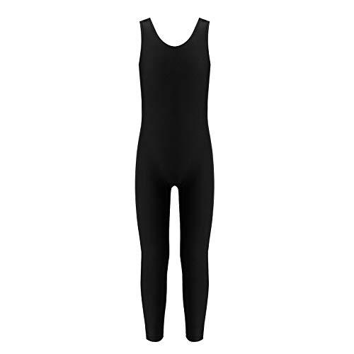 Agoky Unisex Mädchen Jungen Basic Ganzkörperanzug Einteiler Schlafanzug Jumpsuit Kostüm Ballettanzug Overall Langarm Body Schwarz Ärmellos 158-164