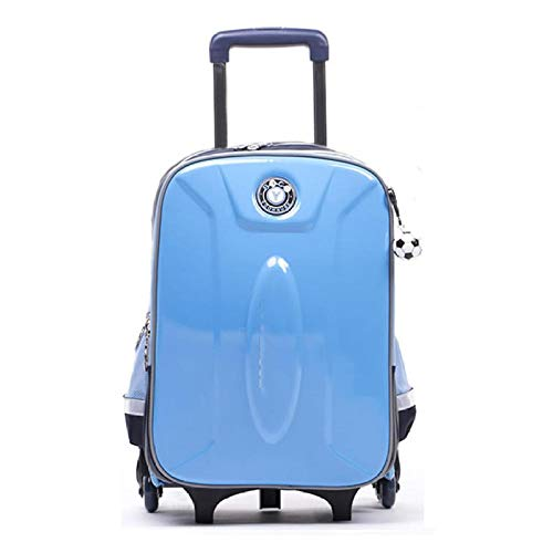 ZZLHHD School Backpack Trolley,Fashion trolley book, light luggage box-Blue d_Large six rounds,Kids Backpack Trolley Bag