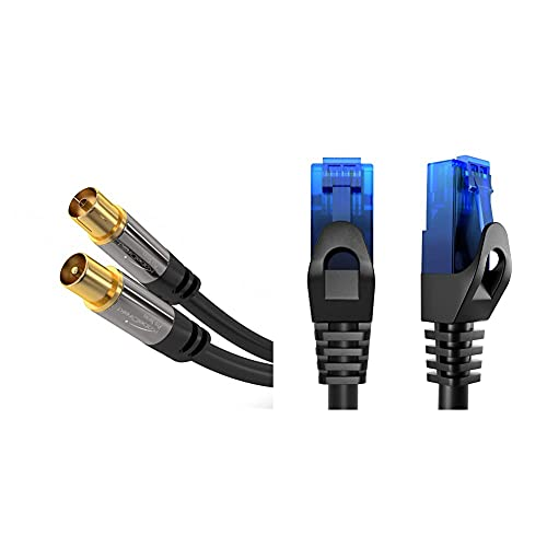 KabelDirekt Bundle – 0,25 m – Netzwerkkabel, Ethernet, LAN & Patch Kabel und 1m Antennenkabel (75 Ohm, Koax Stecker > Koax Kupplung, TV, HDTV, DVB-T, DVB-C, DVB-S)