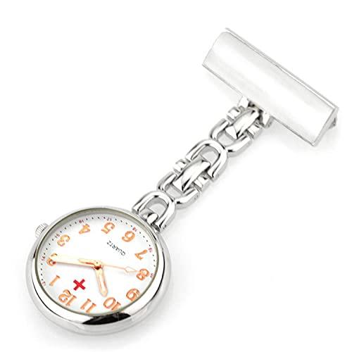 YYMY Enfermera Reloj con Clip,Mesa de medición de Enfermera de Noche Transparente, Movimiento de Cuarzo Doctor-Silver 1