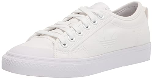 adidas Originals Women's Nizza Trefoil Sneaker, White/White/White, 11