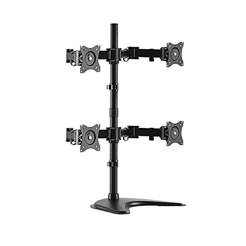 Soporte de montaje del monitor Soporte de monitor de cuatro soportes de monitor de soporte de soporte de monitor de metal con soporte de montaje de metal con base de pie, cada brazo tiene hasta 17,6 l