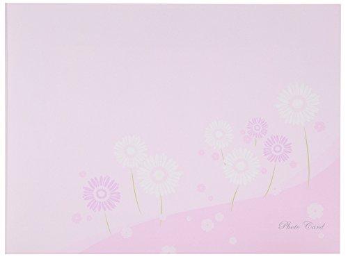 Chikuma 写真台紙 フォトマウントカード 2L ヨコ フラワー ピンク 18688-5