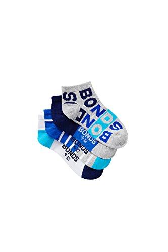 Bonds Kids Fashion Trainer Socks (4 Pack),Blue,Pack 01, 9-12 (5-7 Years)