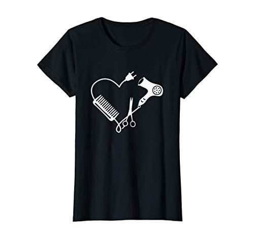 Mujer Peluquero Corazón Secador de pelo Tijeras de peine Camiseta