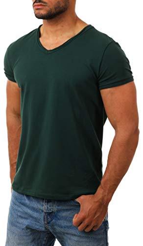 CARISMA Herren Uni Basic T-Shirt mit tiefem V-Ausschnitt Vintage Look Kragen Effekt einfarbig körperbetonte Dehnbare Passform, Grösse:L, Farbe:Dunkelgrün