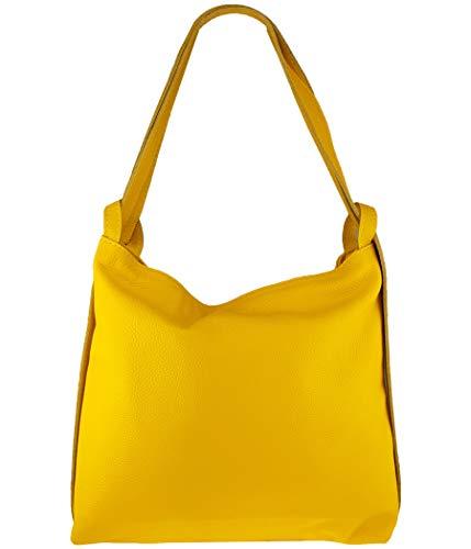 Freyday 2in1 Damen Handtasche Rucksack Designer Luxus Henkeltasche aus 100% Echtleder (Gelb)