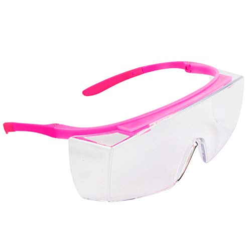 BHTOP Safety Glasses Protective Eye Wear L010 Clear Lens Anti-Fog Goggles Over-Spec Glasses in Pink