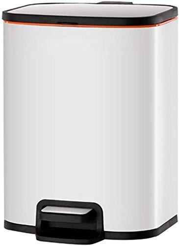 ZCRR Papelera rectangular de acero inoxidable con tapa y cesta de basura interior extraíble para cocina doméstica (tamaño: 8 L, color: blanco)