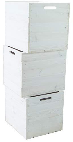 3er Set Holzkiste Aufbewahrungskiste Schubladenbox passend für alle Kallaxregale und Expidit Regale Kallaxysteme Weinkiste Obstkiste Regalkiste Maße 33x37,5x32,5cm Kallax boxen Einsatz (3er set weiss)