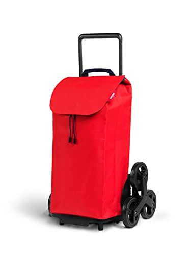 Gimi Tris Urban - Carro de la compra con 6 ruedas, bolsa impermeable 100% poliéster, capacidad 52L, 44,1 x 50,7 x 95,6 cm, color rojo