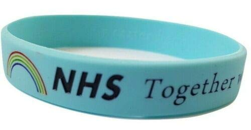 Carter Henc - Pulsera de silicona con soporte para la NHS, Thank You NHS – Together we can Beat This – Pulsera de arco iris de tamaño adulto