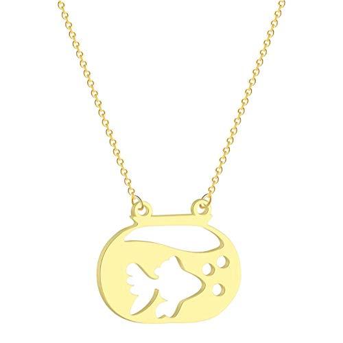 N-B Collar con Colgante de pez Dorado en una pecera para Mujer, diseño Lindo, Cadenas de Animales Marinos, Collar para niñas Encantadoras-Gold_Color_