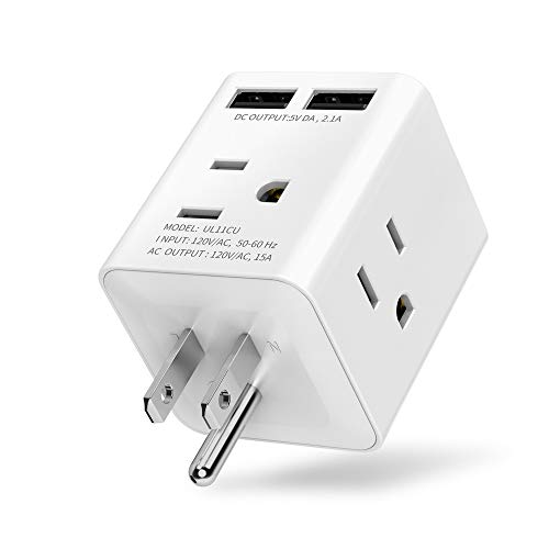 Multi Plug Outlet Extender Box with 4 AC Sockets and 2 USB Ports, Plug Adapter, Aracky Plug Extender, Wall Outlet Expander, Power Charging Cube Expander for Home, Office, Hotel, Dorm, Cruise Ship