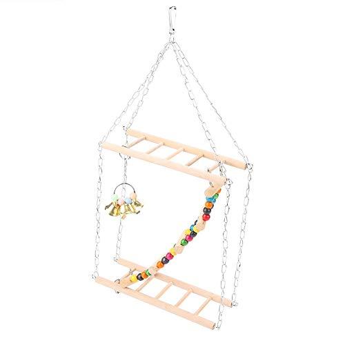 Pet Hanging Wooden Suspension Bridge Leiter Schritte Treppen Klettern Schaukel Double-Layer-Spielzeug für kleine Vögel Dekoratives Zubehör für Papagei Sittich Nymphensittich Hamster