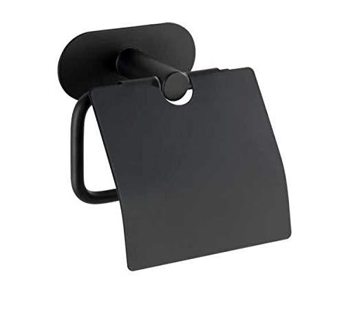 WENKO Turbo-Loc® Edelstahl Toilettenpapierhalter mit Deckel Orea Black Matt