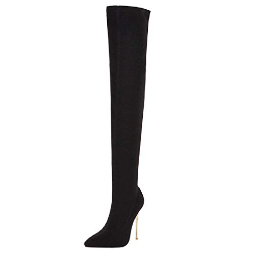 MISSUIT Damen Stretch Overknee Langschaft Stiefel Stiletto High Heels Boots Spitz über Knie Stiefel Winter Schlupfstiefel(Schwarz,42)
