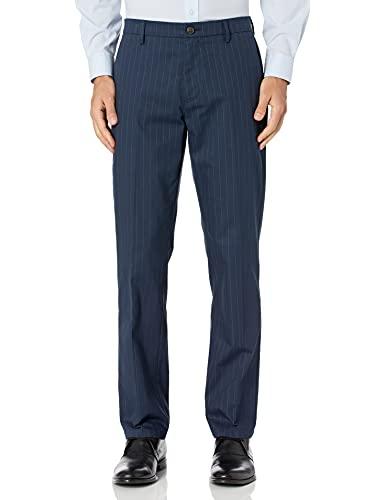 Marchio Amazon - Goodthreads, pantaloni chino eleganti da uomo, dritti, senza pieghe, gessato - blu navy, 34W x 30L