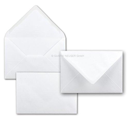 Briefumschläge in Weiss - 50 Stück - Kuverts in DIN B6 Format 125 x 185 mm - Größer als DIN B6 für besonders Starke Grußkarten - Nassklebung - ohne Fenster - ideal für Weihnachten und Einladungen