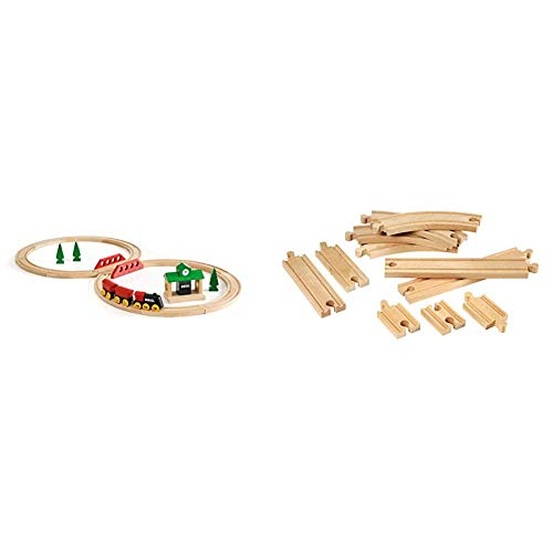 BRIO World 33028 - Classic Figure 8 Set - 22 Piece Wood Toy Train Set with Accessories and Wooden Tracks for Kids Age 2 and Up & World - 33401 Beginner's Expansion Pack | 11 Piece Wooden Train Tracks