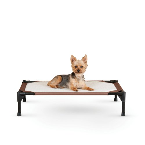 K&H Pet Products Self-Warming Pet Cot Elevated Pet Bed Medium Chocolate/Fleece 25' x 32' x 7'