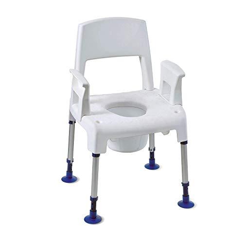 Sedia da Doccia Modulare Regolabile in Altezza - Aquatec Pico 3 in 1 Invacare - Sgabello da Bagno - Seggiolino con Schienale e Braccioli Estraibili per Disabili e Anziani
