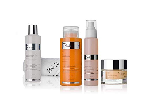 Plush luxuryBIOcosmetics - Set 4 products with jasmine + Plush towel gift = micellar water, cream cleanser, Liftingn cream, body spray