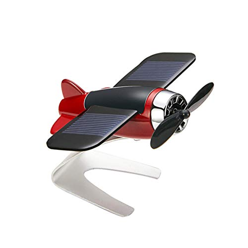 UNBRUVO Solar Small Aircraft Fan, Solar car Motion Aromatherapy Ornament Window Moving Aircraft Airplane Model,The Best Gift for Men and Boys (Gold, 9X7.5X5cm)