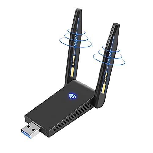 Adaptador WiFi USB, 1300Mbps USB 3.0 WiFi Adaptador Doble Banda con 5dBi Antenas de Alta Ganancia 5G/2.4G, para PC/Desktop/Laptop/Tablet Compatible con Win XP/Vista/7/8/10 Mac OSX/Linux