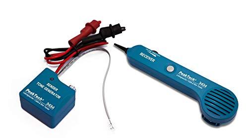 PeakTech 3434 – Leitungssucher für Leitungen und Telefonkabel mit Durchgangsprüfer und Tonsignal, Krokoklemmen, Telefon, RJ11, LAN Netzwerk, Kabeltester, Kabelfinder, Leitungsdetektor, Wire Tracker