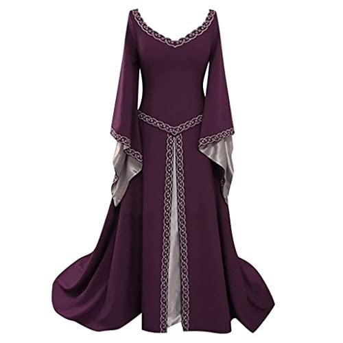 Vestido medieval para mujer, con mangas de trompeta, longitud hasta el suelo, retro, gótico, renacentista, princesa victoriana, vestido de bruja medieval irlandés, vestido largo, 2 morado, XXXXL