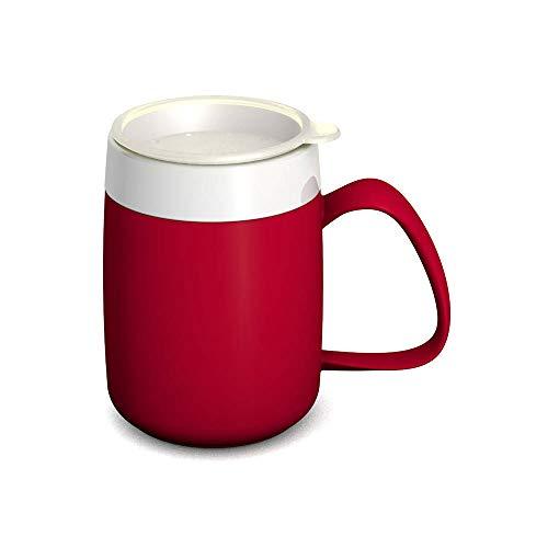 Ornamin Becher mit Trink-Trick 140 ml rot mit Thermofunktion und Trinkdeckel (Modell 207 + 814) / Spezial-Trinkhilfe, Nasenbecher, Schnabelbecher