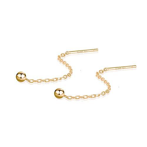 Pendientes de oro para mujer Pendientes de hilo Pendientes de borla de cadena de plata esterlina (Dorado, 3)
