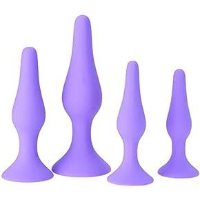 MONi Best Idea for Gift for Women – Set of 4 Soft Silicone Bu~tt P~lu~g Toys – Stimulator Trainer Kit – 4 pcs Pack – Purple