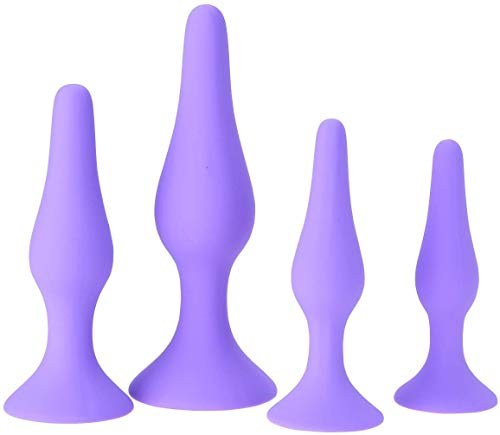 MONi Best Idea for Gift for Women - Set of 4 Soft Silicone Bu~tt P~lu~g Toys - Stimulator Trainer Kit - 4 pcs Pack - Purple